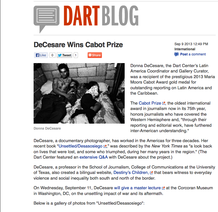 Dart Blog De Cesare Wins Cabot Award